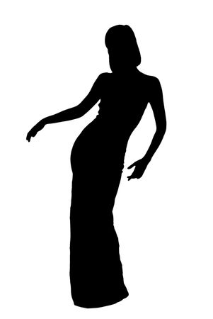 silhouette of dancing woman in evening dress photo