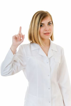 inoculate: young woman doctor shows sign forefinger on white background  Stock Photo