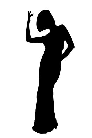 silhouette of woman in evening dress on white  photo