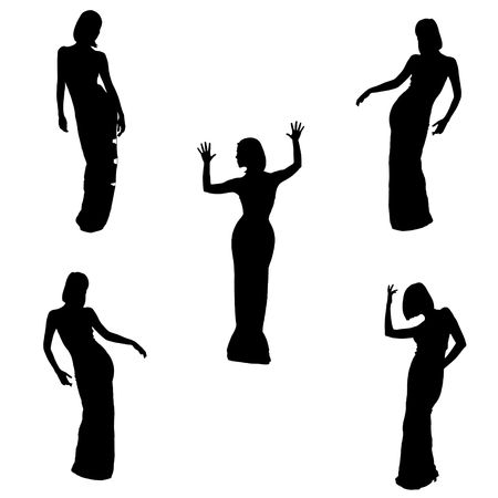 sillouette: silhouettes of women, five poses on white  Stock Photo