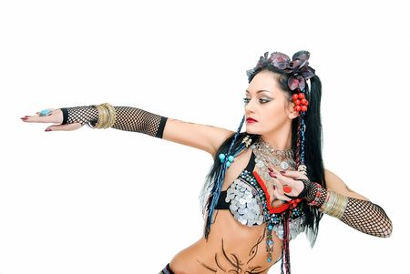 alluring young tribal dancer in pose on white Stock Photo - 5016772
