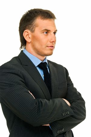 sunburnt: assured young businessman in reflection on white background