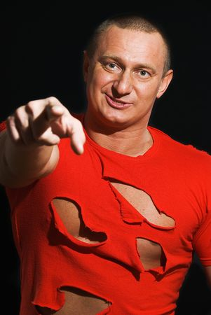 boor: portrait of man bodybuilder in ragged short  Stock Photo
