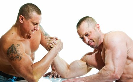 two strong mans armwrestling on white background