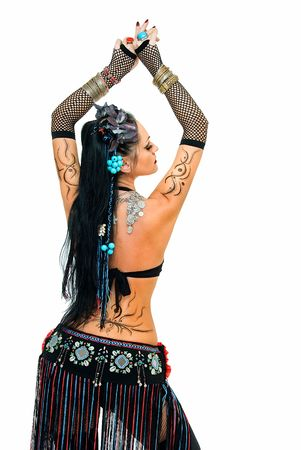 young beautiful tribal dancer woman on white