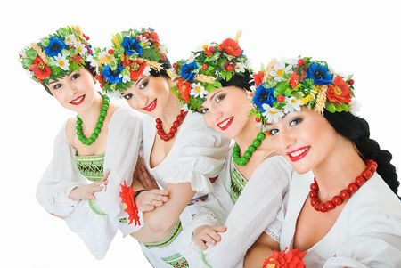 four ukrainian young women dancers on white