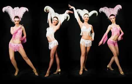 four young women latino dancers on black