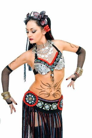 charming beauty tribal dancer on white background