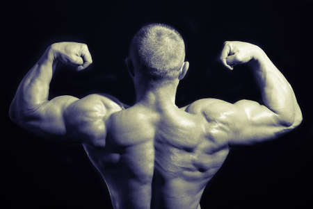 posing bodybuilder from back in black and white Stock Photo - 5902887