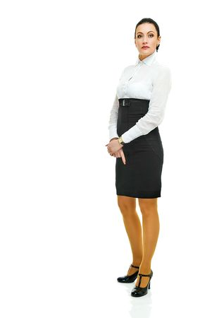 hobble: charming business lady in full height on white