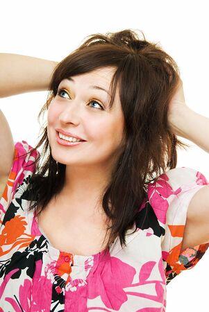 zerzaust: l�chelnd junge Frau mit tousled Haar auf wei� Lizenzfreie Bilder