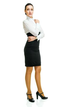 panty hose: standing pretty business woman on white