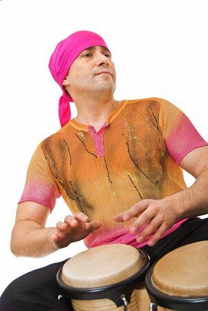 playing man on bongo in musical ecstasy photo