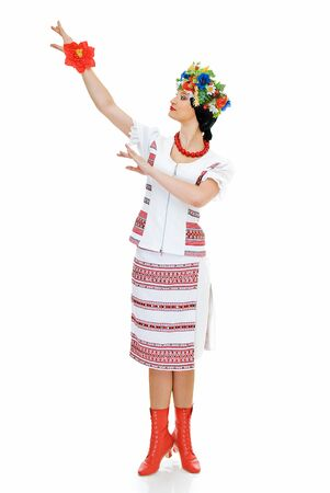 dancing ukrainian young woman on white photo