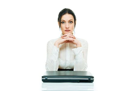 prompting: sadness young business lady with laptop on white  Stock Photo