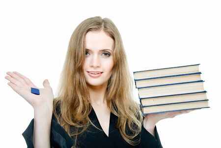 smiling young woman with books and digital memory card photo