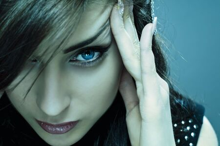 sexually: face of beauty model in cold colours