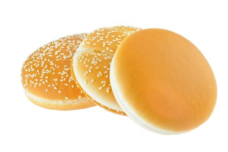 appetizing buns with sesame isolated on white Stockfoto