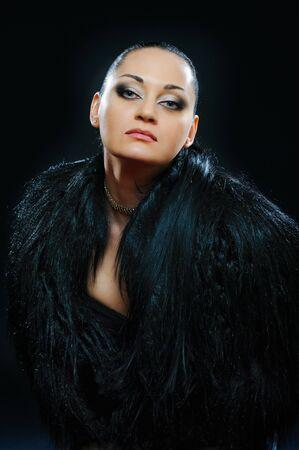 portrait of brunette in black fur coat photo