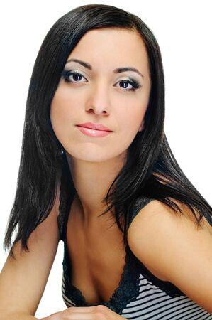 portrait of beauty brunette on white background Stock Photo - 7591474