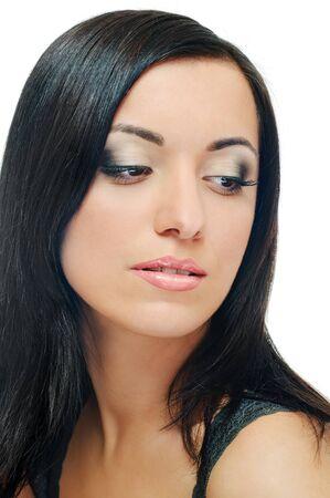 portrait of beauty brunette on white background Stock Photo - 7591477