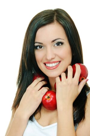 portrait of beauty brunette with red apple on white background Stock Photo - 7810389