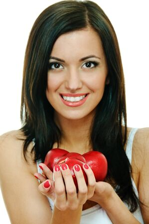 portrait of beauty brunette with red apple on white background, face is not in focus Stock Photo - 7810387