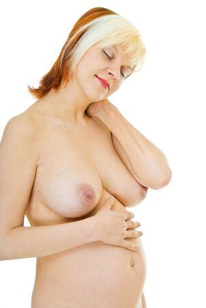 wonderful naked  pregnant woman on white background Stock Photo - 7894073