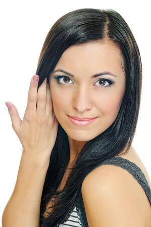 portrait of beauty brunette on white background Stock Photo - 7894109