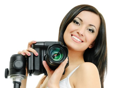 sexy black girl: portrait of beauty brunette with camera on white Stock Photo