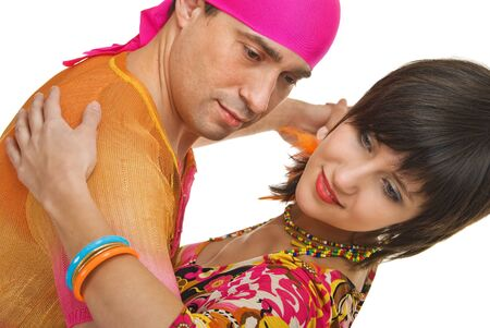 young couple in dance on white background photo