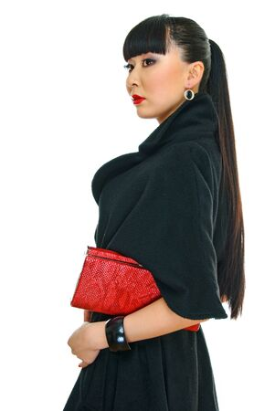 charming korean girl with purse in hand photo