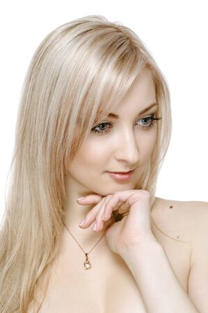 portrait of beauty blonde girl on white Stock Photo - 9288243