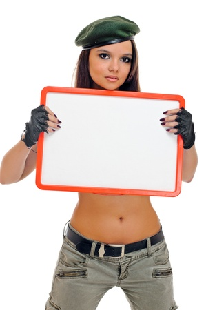 young beauty girl with board on white background