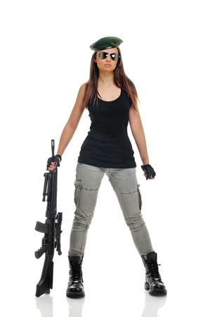 Jonge schoonheid meisje met machine-gun op witte achtergrond Stockfoto - 9812041