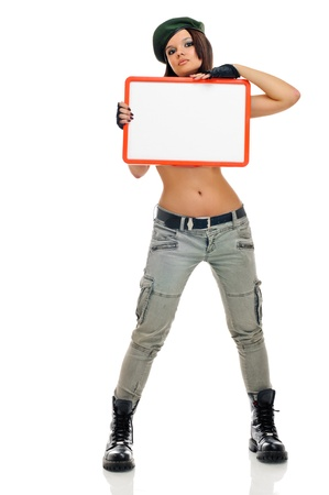 sexy army girl: young beauty girl with board on white background