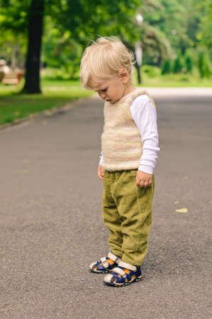 stroll: little boy on stroll in the park