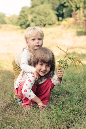 portrait of the  little boy and girl photo