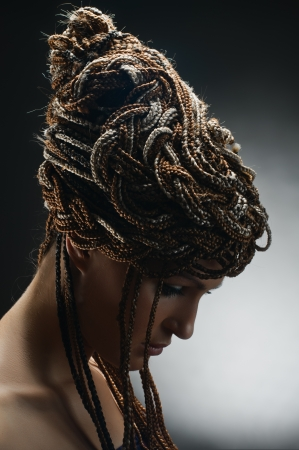 arte africano: retrato de la hermosa chica con trenzas africanas sobre fondo gris