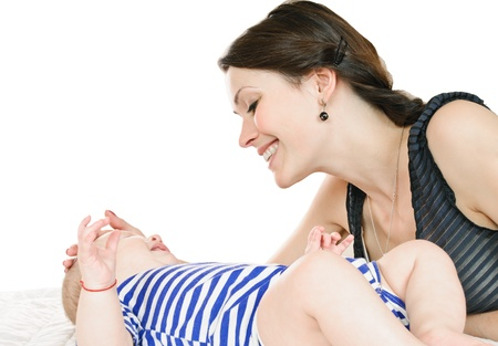 young mother and her baby on white Stock Photo - 12951080