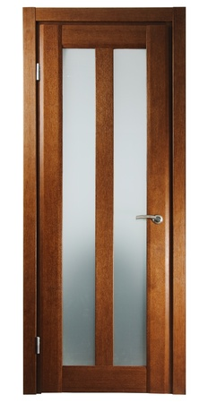 glass door: wooden door for room on white background