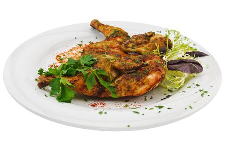 chicken tabaka on white background Stock Photo