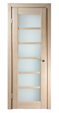 wooden door for room on white background photo