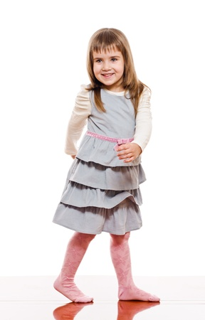 panty hose: portrait of a little girl on white