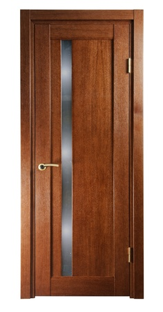 wooden door for room on white background