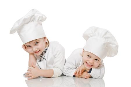 two kids in image of scullion on white Standard-Bild