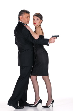 man gangster with his lady on white photo