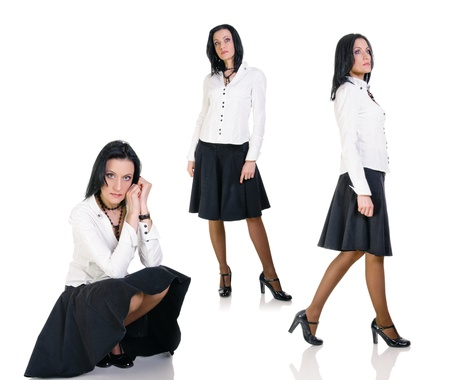 collage of attractive brunette business woman on white background photo