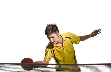 tischtennis: junger Mann Tennisspieler im Spiel auf wei�em Hintergrund Lizenzfreie Bilder