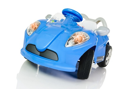 accumulator: blue accumulator vehicle for children on white